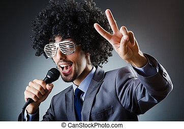 cantando, corte cabelo, estúdio, afro, homem