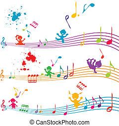 cantando, crianças, aduela, colorido