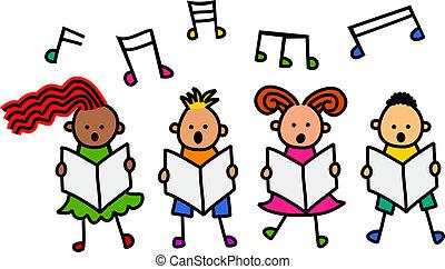 cantando, crianças