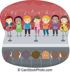 cantando, crianças,  onstage