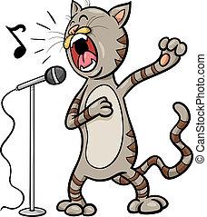 cantando, gato, caricatura, ilustração
