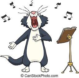 cantando, gato