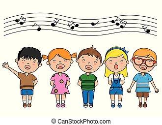 cantando, grupo, crianças