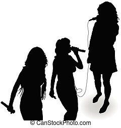 cantando, microfone, silueta, menina, pretas