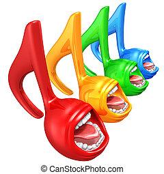 cantando, notas, música, espectro
