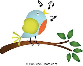 cantando, pequeno, árvore, pássaro