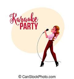 cantante, bandiera, manifesto, concorso, cartolina, disegno, femmina, karaoke, festa