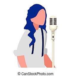 cantante, carattere, microfono, femmina