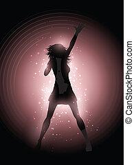 cantante, compiendo, femmina