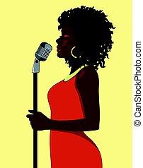 cantante, concetto, cartone animato, femmina, attraente