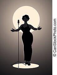 cantante, donna, elegante, jazz, curvy, sexy, melodia, canto