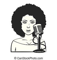 cantante, donna, microfono