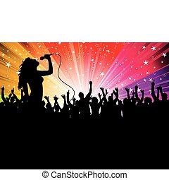 cantante, femmina, folla
