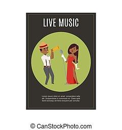 cantante femmina, jazz, vivere, gioco, vettore, illustration., musica, cartone animato, banda, saxsophonist, nero