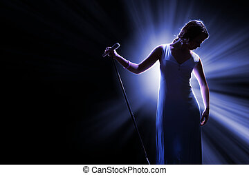 cantante, femmina, palcoscenico