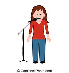 cantante, isolato, femmina, icona