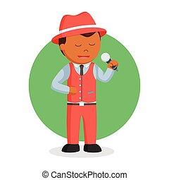 cantante, jazz, hombre africano