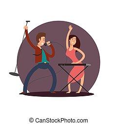 cantante, maschio, carattere, vettore, disegno, femmina, pianista, cartone animato
