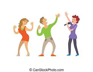 cantante, partying, persone, ballare coppie, femmina