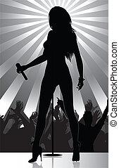 cantante schiocco, palcoscenico, compiendo