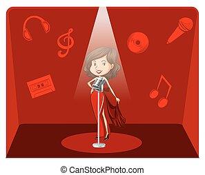 cantante, sfondo rosso, femmina