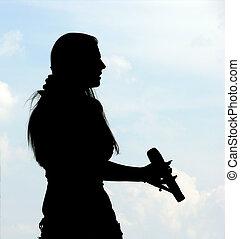 cantante, silhouette