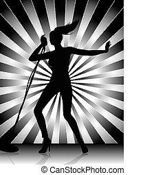 cantante, silhouette, femmina
