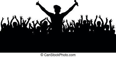 cantante, silhouette, folla, concerto, musicale, microfono