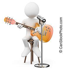 cantante, stella, persone., guitarist., roccia, bianco, rotolo, 3d