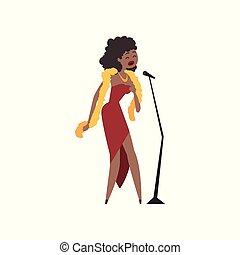 cantante, vestire, jazz, microfono, illustrazione, americano, vettore, africano femmina, canto, rosso