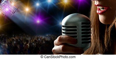 cantante, y, concierto