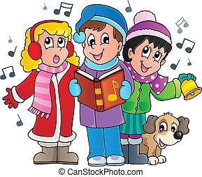 cantantes, 1, villancico, tema, navidad
