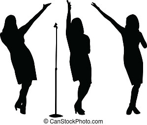 cantantes, vector, -