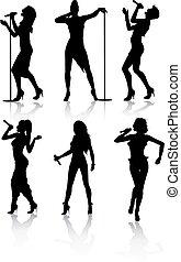 cantanti, set, silhouette, femmina