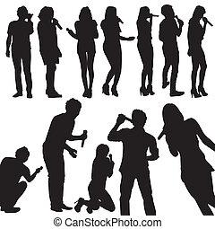 cantanti, set, silhouette, vettore