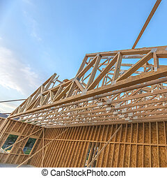 Canted upper roof area of new constructed building