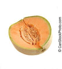 canteloupe closeup - closeup of canteloupe and seeds