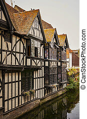 Image of an old half timbered building by the river. Canterbury, England.