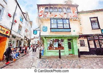 canterbury, touristes, vieille ville, royaume-uni