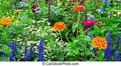 cantero, de, brillante, flores