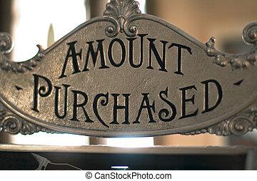 cantidad comprada, señal, en, caja registradora