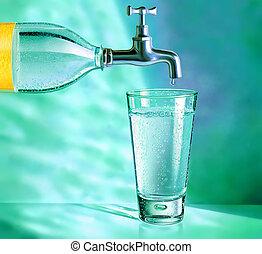 cantimplora, con, golpecito, y, cristal del agua