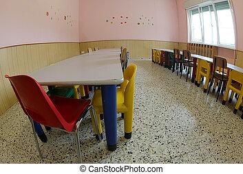cantimplora, mesas, guardería infantil, refectorio, asientos