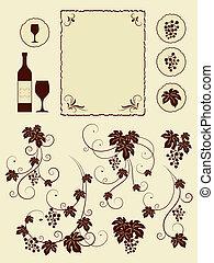 cantina, uva, set., viti, oggetti
