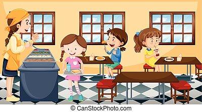 cantine, avoir, enfants, déjeuner