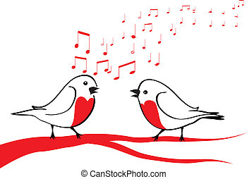 canto, albero, uccelli, ramo