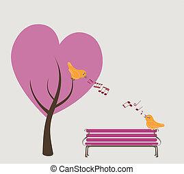 canto, aves, parque, dos, otoñal