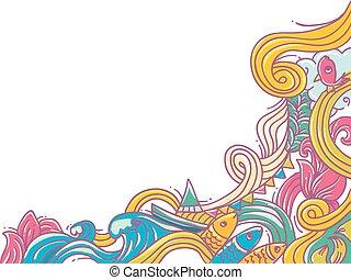 canto, borda, desenho, ondas