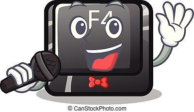 canto, botón, f4, forma, caricatura
