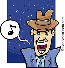 canto, caricatura, ilustración, hombre